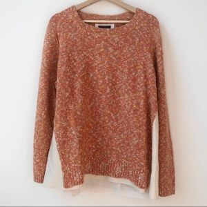 Lafayette 148 NY Orange Knit Sweater Linen Sides